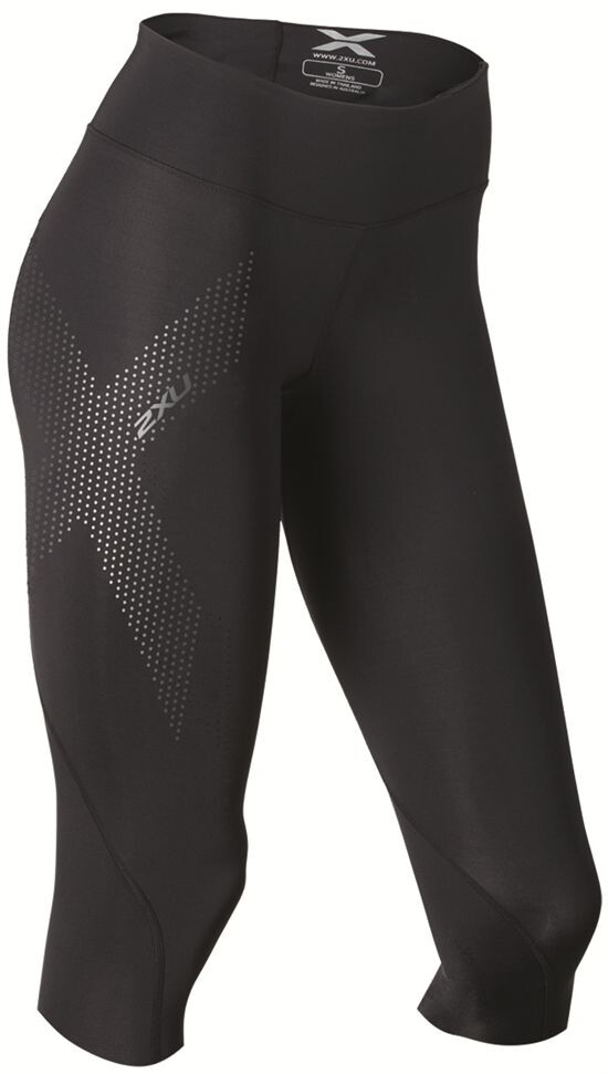 6380ce33 2XU Mid-Rise Compression 3/4 Tights Dame black/dotted reflective logo